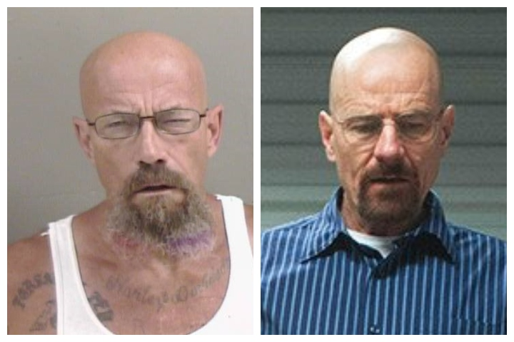 Todd Barrick, left, is shown in a mugshot alongside Walter White (Bryan Cranston), the fictional character from TV show 'Breaking Bad.'.