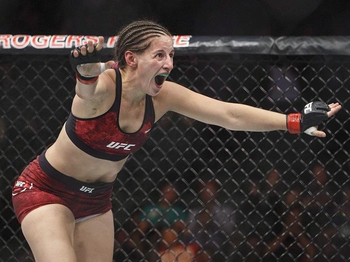 Sarah Moras of Kelowna, seen here celebrating a win at UFC 215 in Edmonton in 2017, defeated American Liana Jojua at UFC 242 in Abu Dhabi on Saturday.