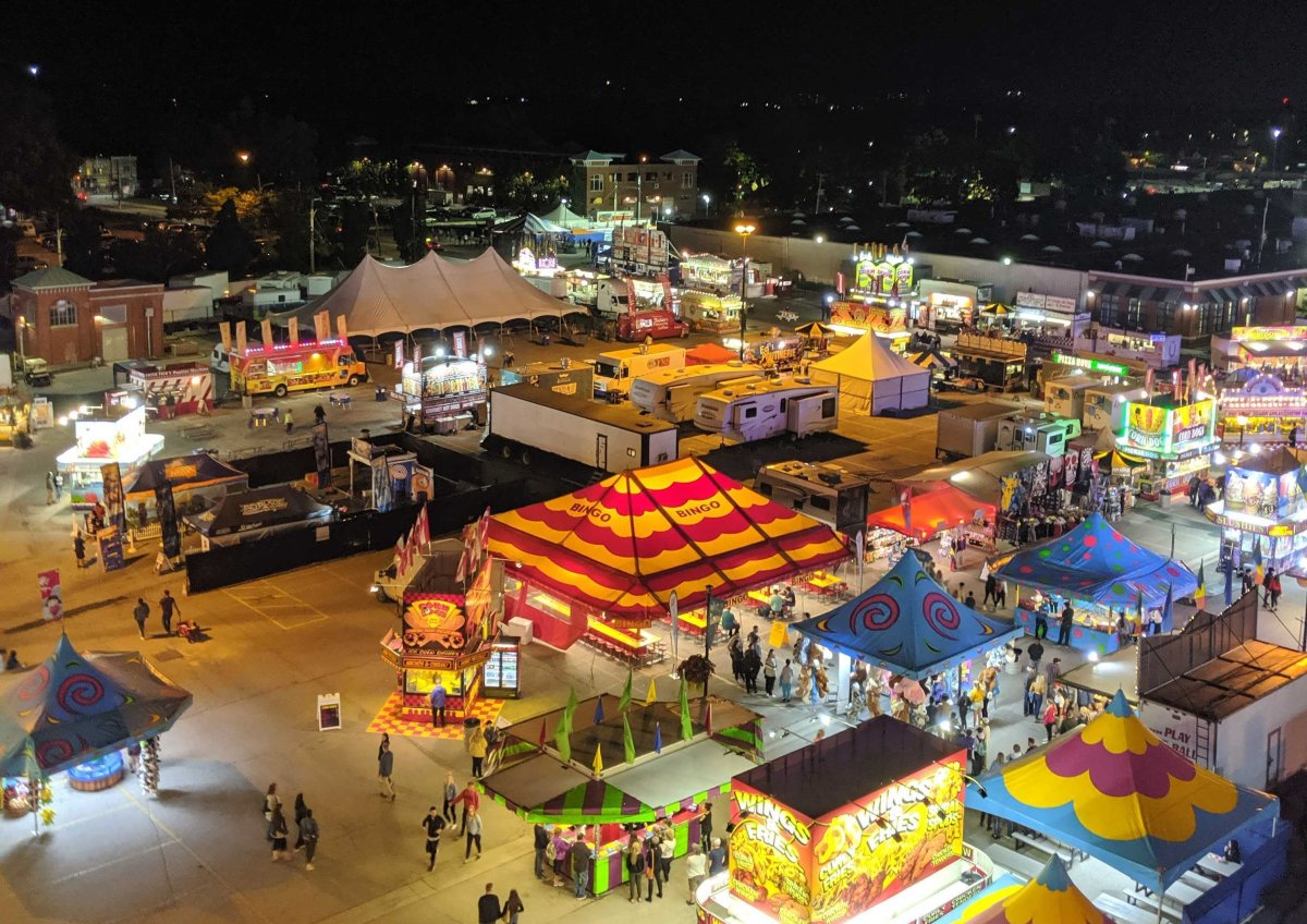 A portion of the midway of the 144th Western Fair on its opening night on Sept.  6, 2019.