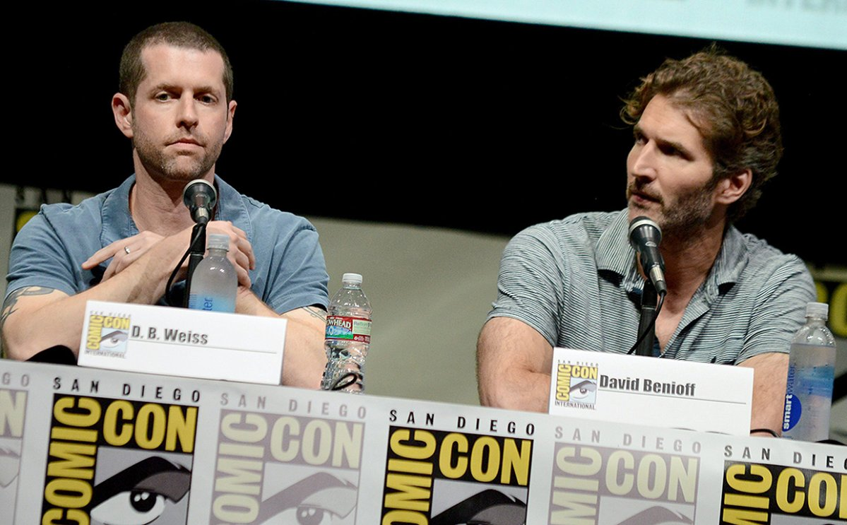 D.B. Weiss, left, and David Benioff participate in the 'Game of Thrones' panel on Day 3 of 2013 Comic-Con International on Friday, July 19, 2013, in San Diego, Calif.