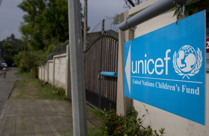 A file photo of a UNICEF sign in Myanmar.
