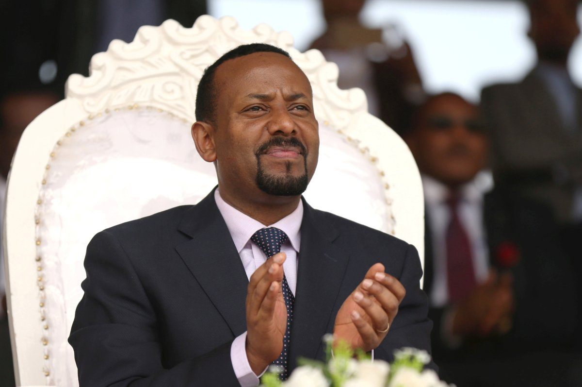 Ethiopia's prime minister Abiy Ahmed attends a rally during his visit to Ambo in the Oromiya region, Ethiopia April 11, 2018.
