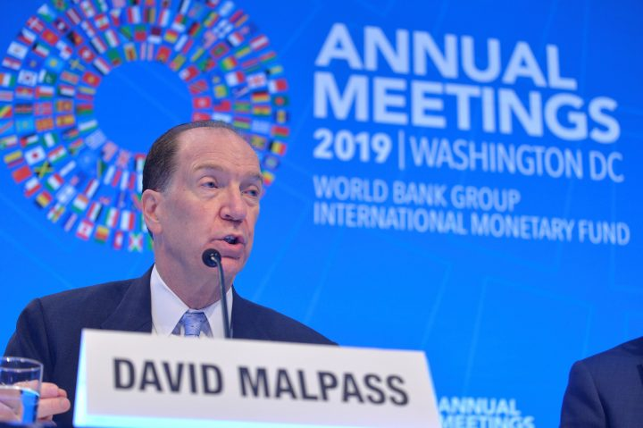 World Bank President David Malpass responds to a question from a reporter during an opening press conference at the IMF and World Bank's 2019 Annual Fall Meetings of finance ministers and bank governors, in Washington, U.S., Oct. 17, 2019.