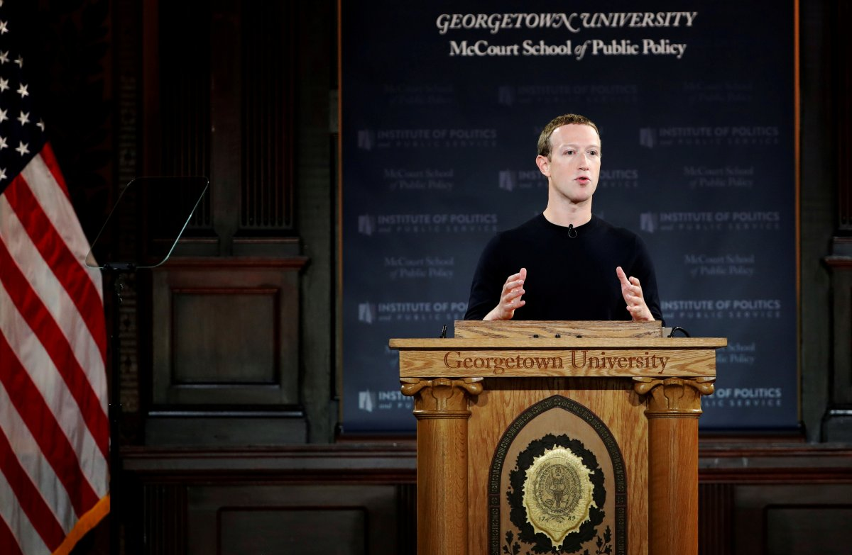 Facebook Chairman and CEO Mark Zuckerberg addresses the audience at a forum hosted by Georgetown University's Institute of Politics and Public Service (GU Politics) and the McCourt School of Public Policy in Washington, U.S., October 17, 2019.