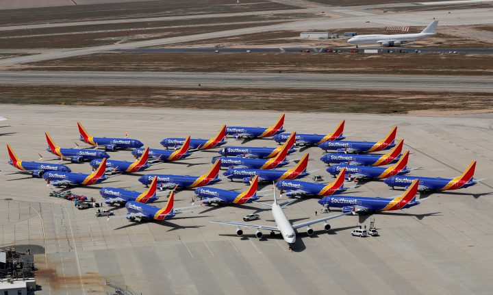 FILE PHOTO: FILE PHOTO: A number of grounded Southwest Airlines Boeing 737 MAX 8 aircraft are shown parked at Victorville Airport in Victorville, California, U.S., March 26, 2019.  REUTERS/Mike Blake -/File Photo/File Photo.