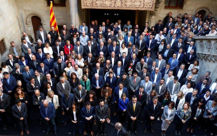 Catalan leader Quim Torra gestures as he meets with mayors of Catalonia region, at the Palau de la Generalitat in Barcelona, Spain October 26, 2019.