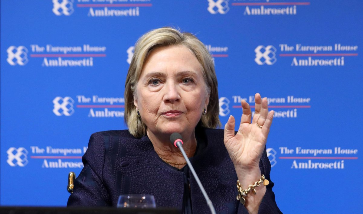 Hillary Rodham Clinton attends during the forum the European house Ambrosetti held in Cernobbio, Italy,  Sept. 7, 2019.