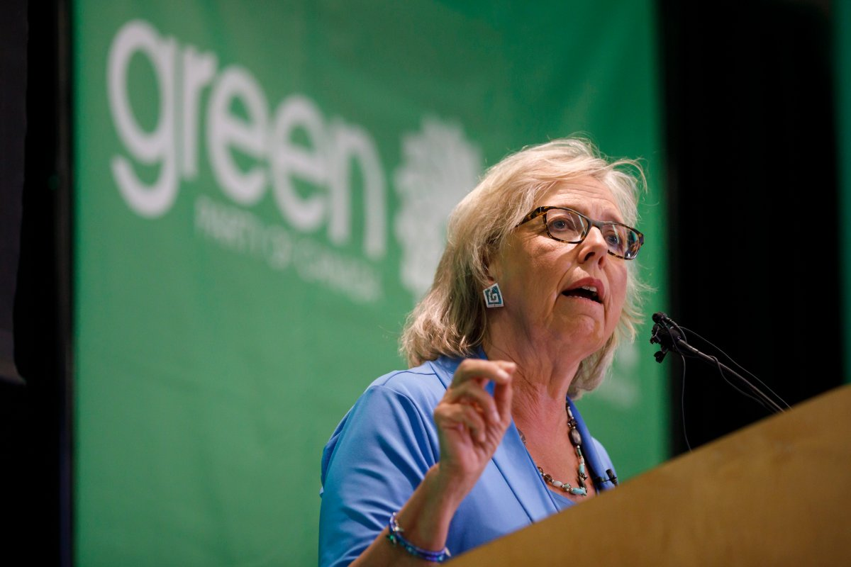 Green Party of Canada leader Elizabeth May speaks in Toronto prior to a fireside chat about the climate, Tuesday, Sept. 3, 2019.