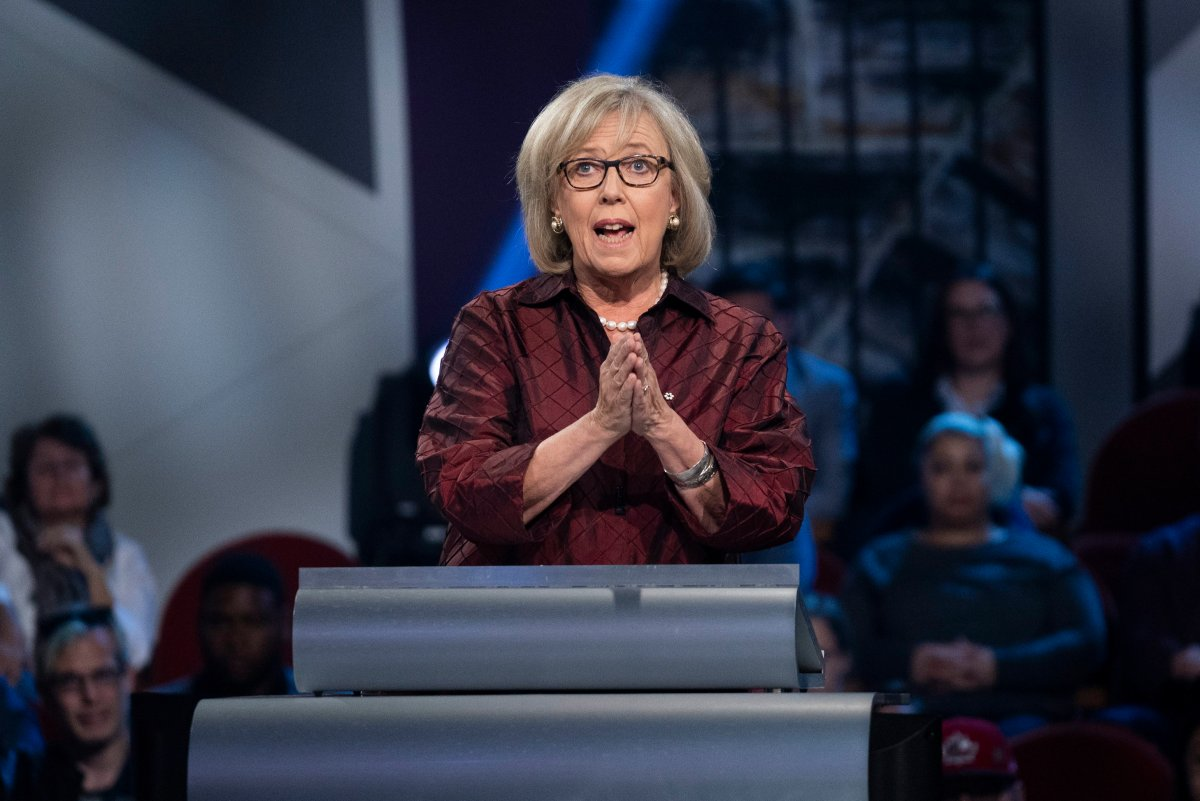 Green Party leader Elizabeth May speaks during the Federal leaders French language debate in Gatineau, Que. on Thursday, October 10, 2019.