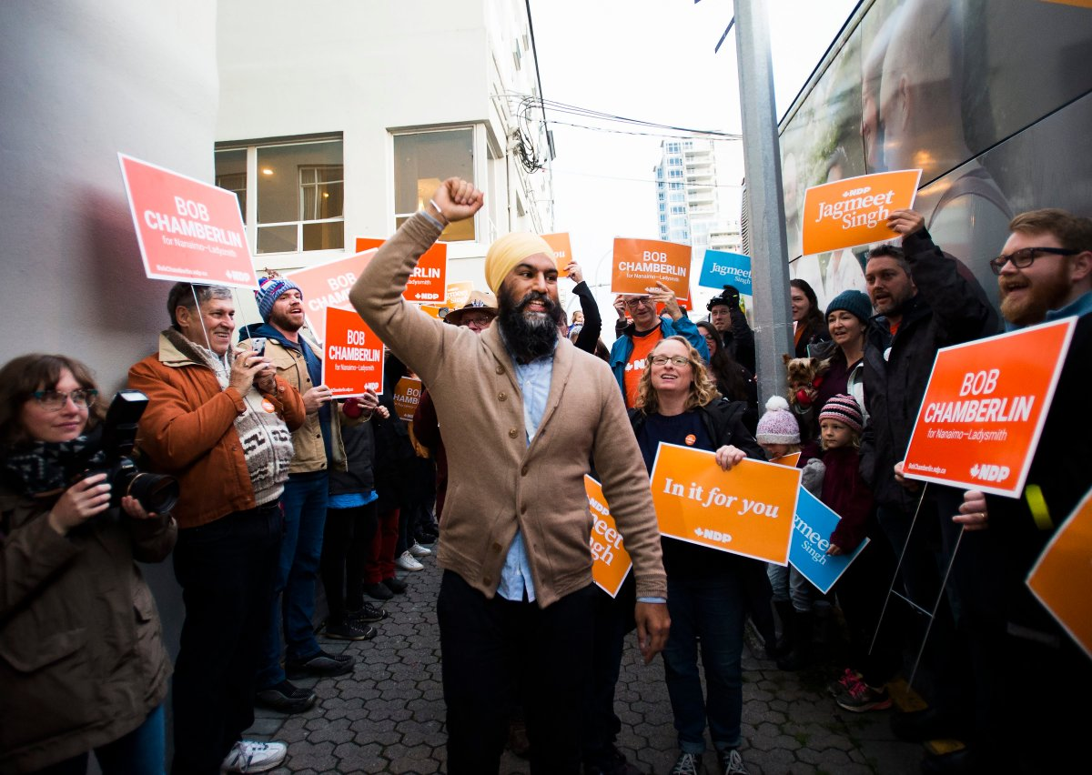 NDP leader Jagmeet Singh greets supporters during a campaign stop in Nanaimo, B.C.,  on Friday, October 18, 2019.