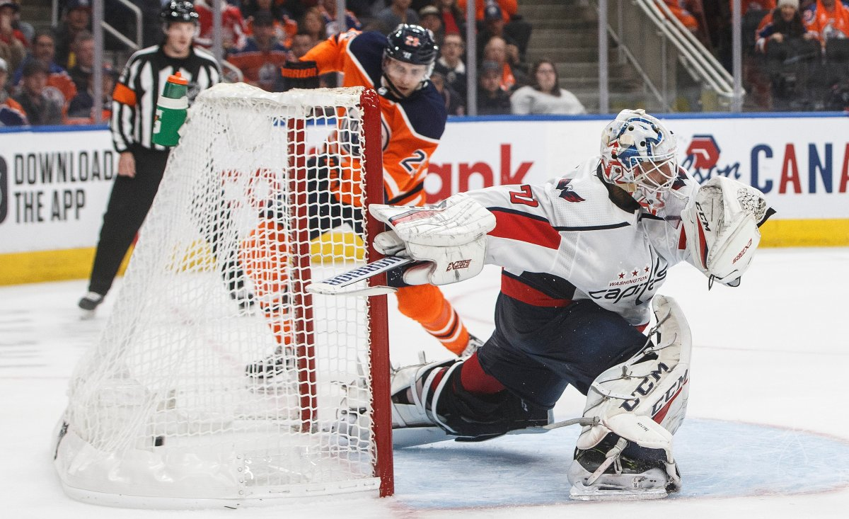 Washington Capitals goalie Braden Holtby (70) is scored on by Edmonton Oilers' Leon Draisaitl (29) during third period NHL action in Edmonton, Alta., on Thursday October 24, 2019. THE CANADIAN PRESS/Jason Franson.