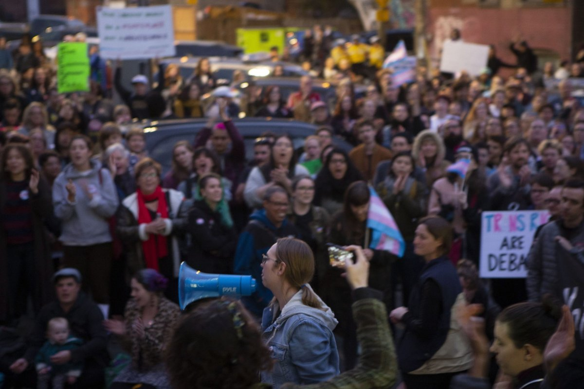 Trans writer and activist Gwen Benaway speaks to the crowd gathered outside a Toronto Library before writer Meghan Murphy spoke at an event on Tuesday, October 29, 2019.