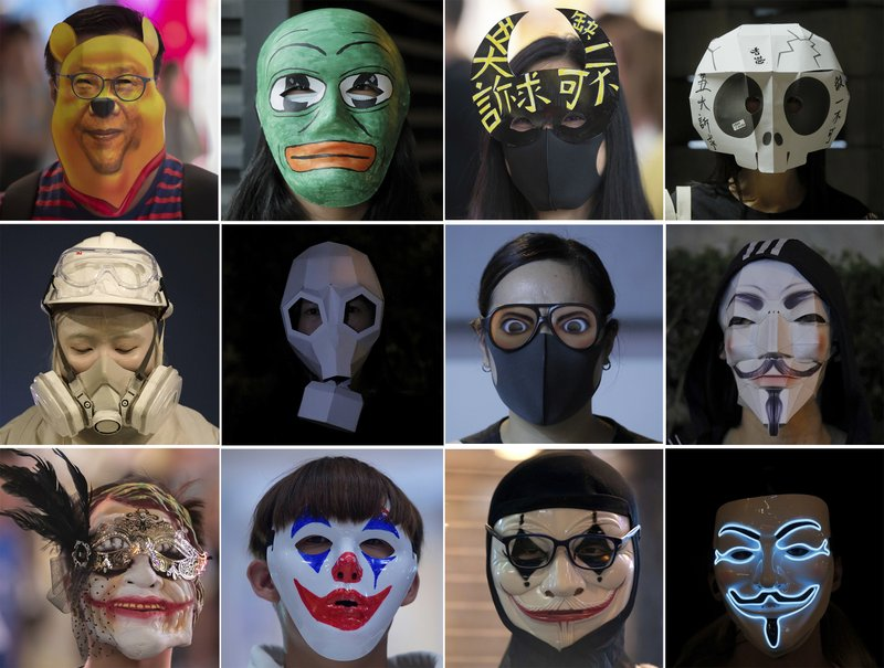 This combination photo shows masked protesters during protests in Hong Kong Friday, Oct. 18, 2019. Hong Kong protesters masqueraded as Winnie the Pooh, Guy Fawkes and other characters in defiance of a government ban on face coverings at public gatherings.