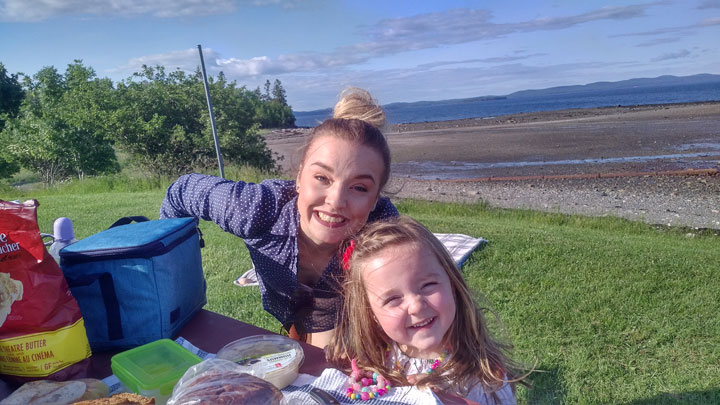 """Alicia Hunt, of Saint John, N.B., and her daughter. Hunt lives with Type 1 diabetes and uses a """"hybrid closed loop"""" insulin pump system to manage her blood sugar."""