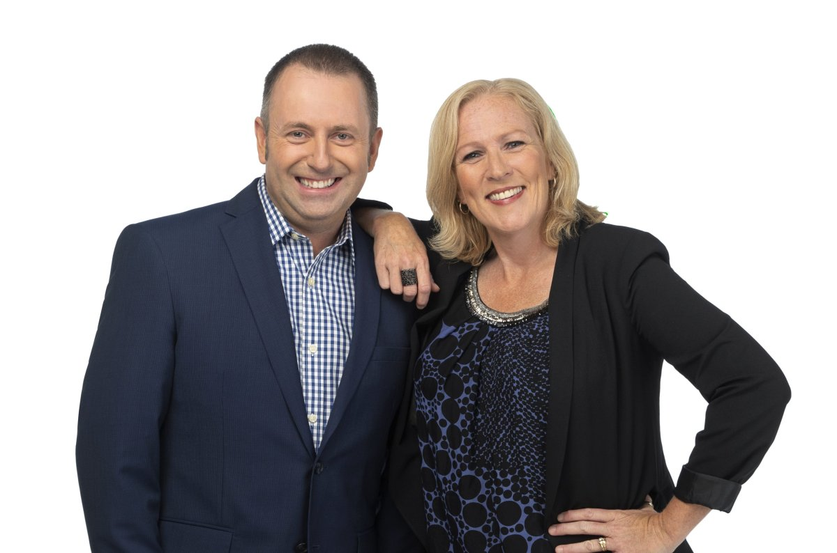 Sue Deyell poses in a photo with her new co-host Andrew Schultz.