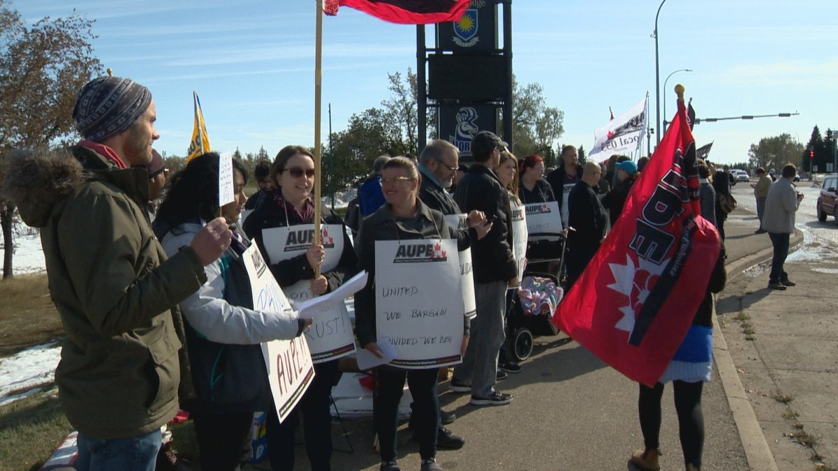 AUPE hosts information picket outside the University of Lethbridge.
