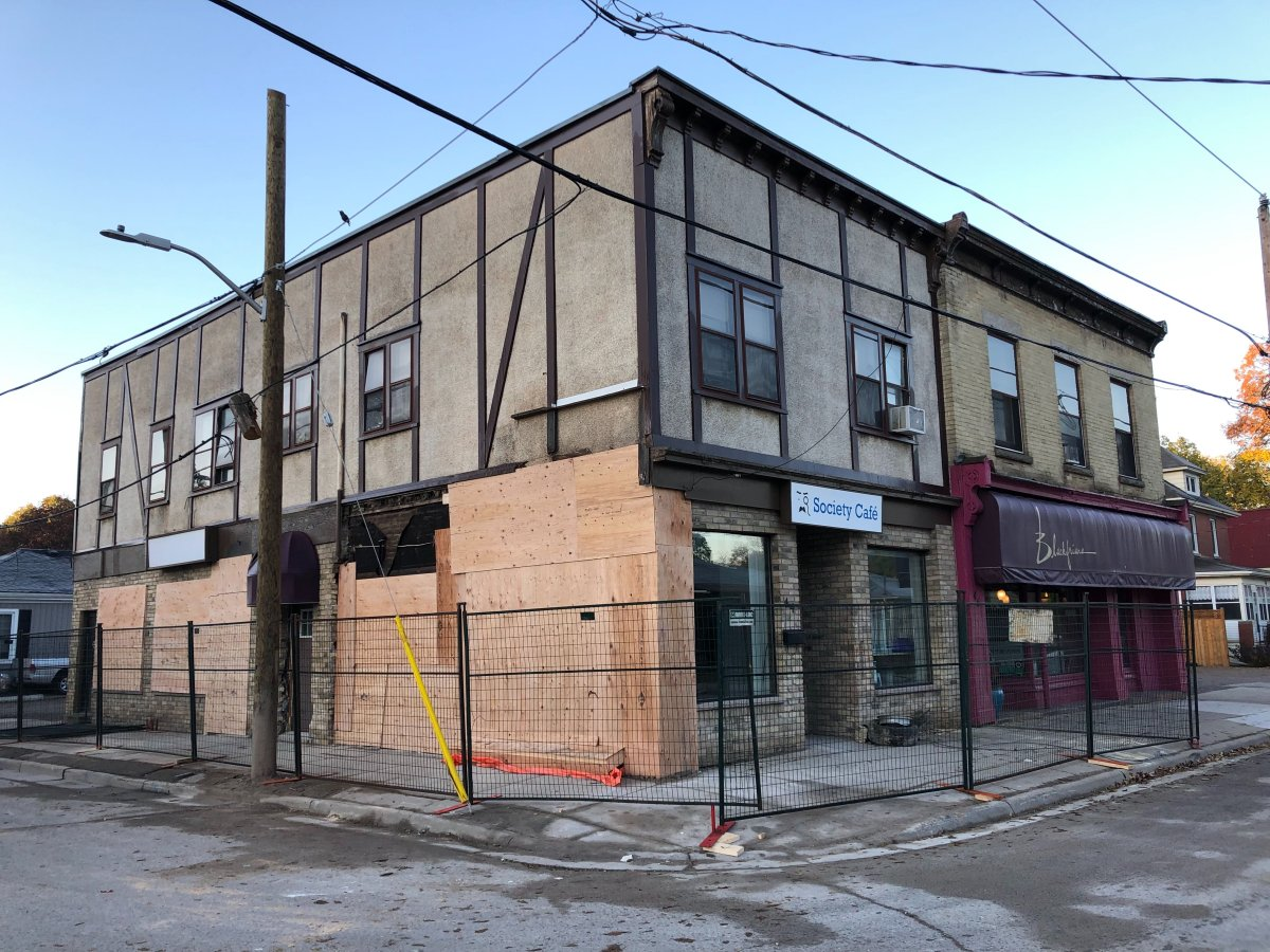 Buildings at the corner of Blackfriars Street and Wilson Avenue remained boarded up on Monday following a weekend crash that left extensive damage in the area.