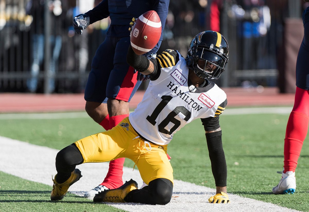 Hamilton Tiger-Cats' Brandon Banks reacts after scoring a touchdwon during second half CFL football action against the Montreal Alouettes, in Montreal, Saturday, Oct. 26, 2019.