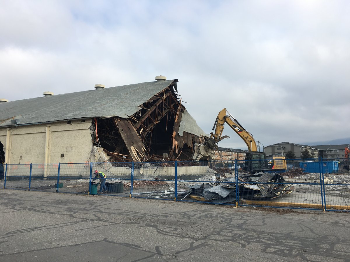 City staff are suggesting it would be too expensive to create a temporary outdoor rink at the former site of Vernon's Civic Arena, pictured being demolished in November 2018.