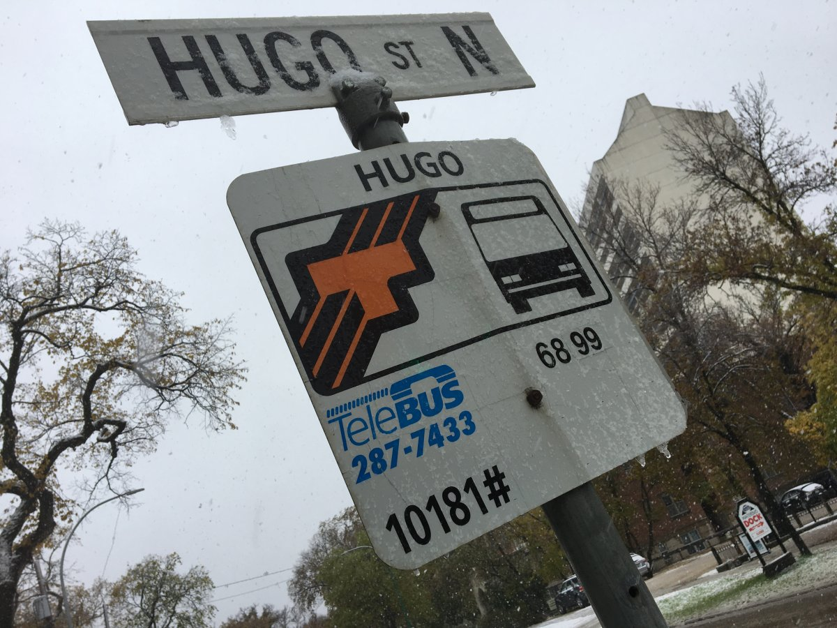 Snow on a Winnipeg Transit bus stop sign.