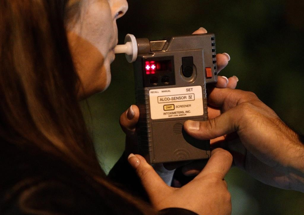 An RCMP officer performs a breathalyzer test on a driver during a roadside check in Surrey, B.C., just before midnight on Friday September 24, 2010.