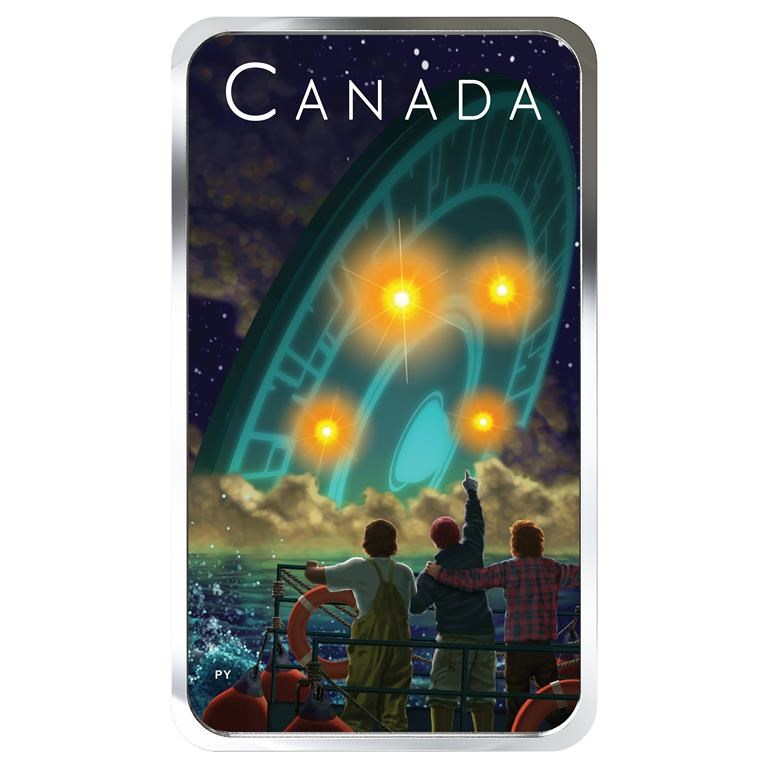 The Royal Canadian Mint has issued an innovative glow-in-the-dark coin that captures the eerie scene more than 50 years ago when an officially documented UFO crashed into the waters off Shag Harbour in southwestern Nova Scotia.