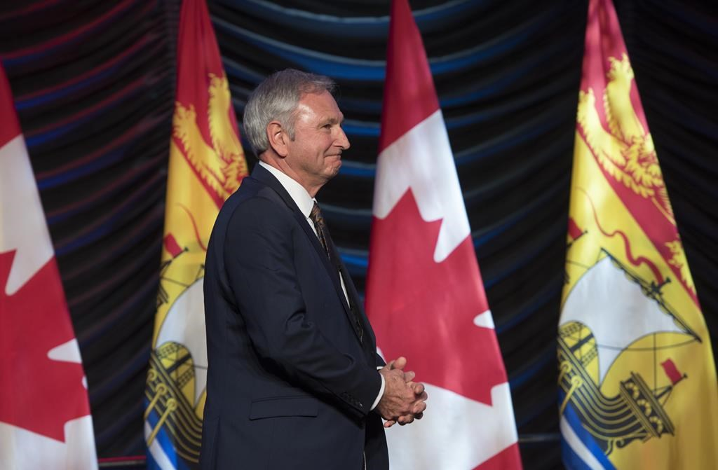 New Brunswick Premier Blaine Higgs walks onto stage to deliver the State of the Province address in Fredericton on Thursday January 31, 2019.