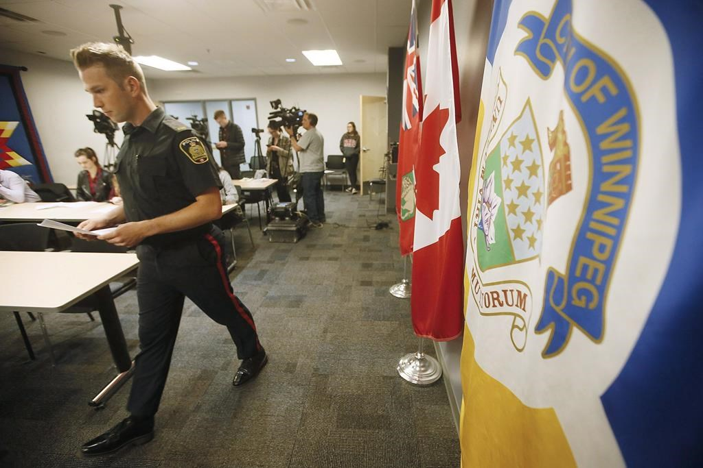 Winnipeg Police Service Const. Jay Murray addresses media in this file photo.