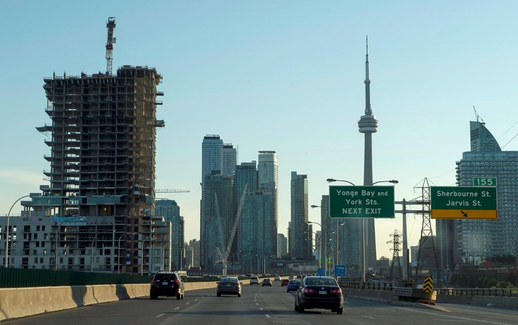 Skyline in Toronto seen from the Gardiner Expressway on Wednesday, July 5, 2017.