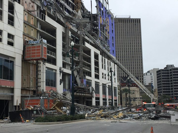 The scene of a collapsed crane in downtown New Orleans.