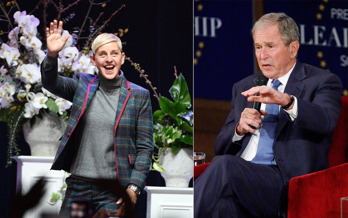 (L-R): Ellen DeGeneres and George W. Bush.