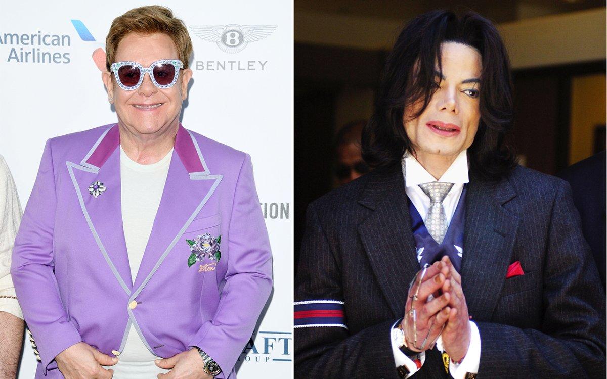 (L-R): Elton John and Michael Jackson.