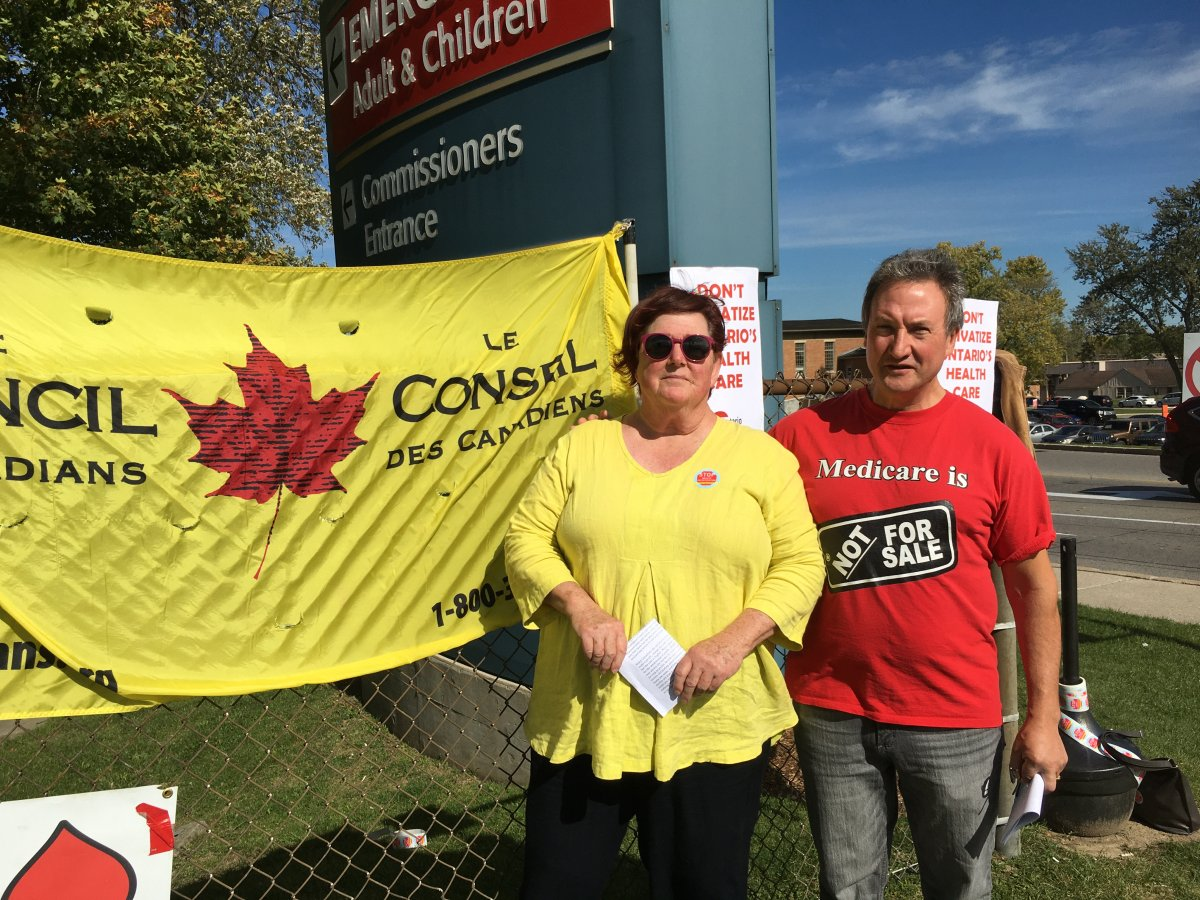 The London Health Coalition and Council of Canadians are demanding accountability from London West Conservative Candidate Liz Snelgrove. (Left to right) Roberta Cory with the Council of Canadians and Peter Bergmanis with the London Health Coalition.
