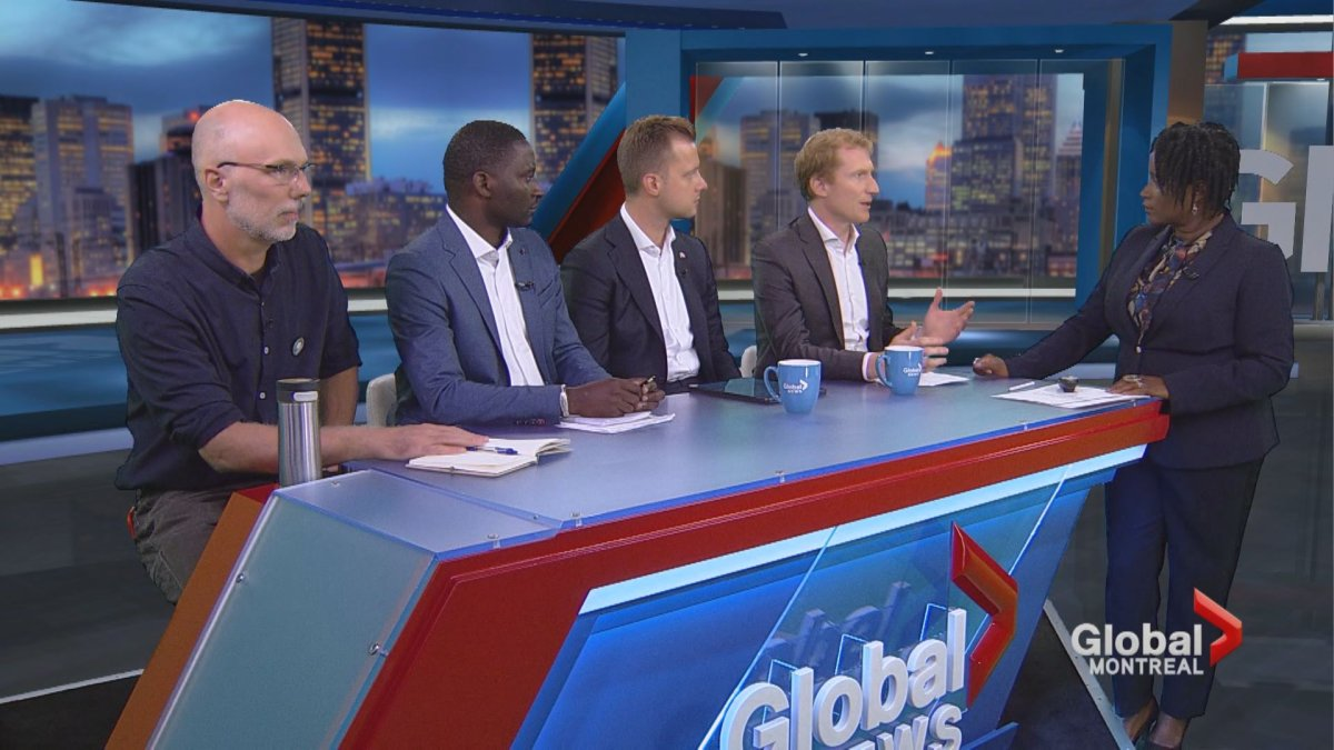 From left: Robert Green (Green Party), Joseph Hakizimana (NDP), Michael Forian (Conservative) and Marc Miller (Liberal) debate healthcare on Focus Montreal.