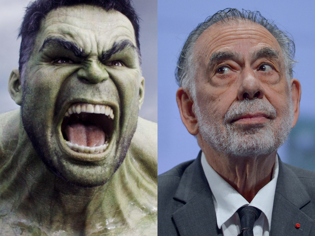 (L-R) Mark Ruffalo as The Hulk in Marvel's 'Thor: Ragnarok' (2017) and Francis Ford Coppola.