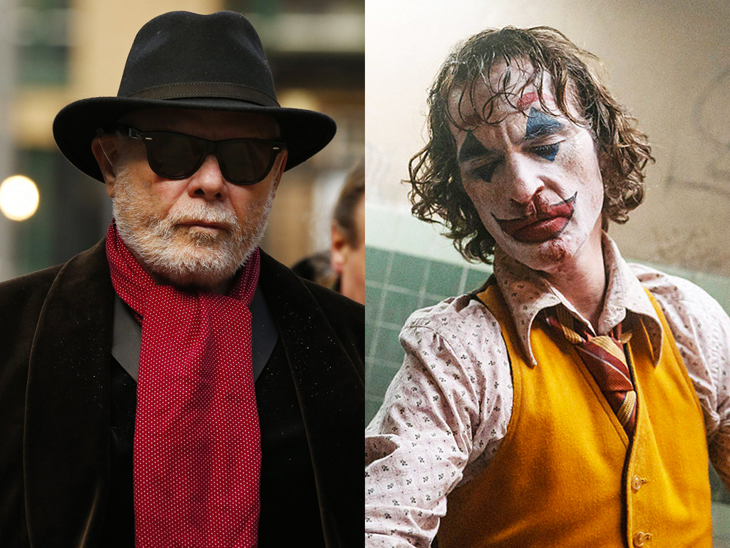 (L-R) Convicted pedophile Gary Glitter and Joaquin Phoenix as the Joker in 'Joker.'.