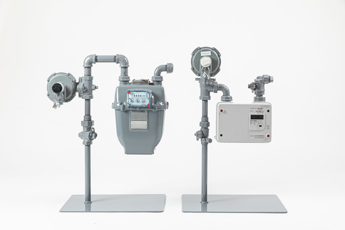 Traditional (left) and new advanced (right) FortisBC gas meters.