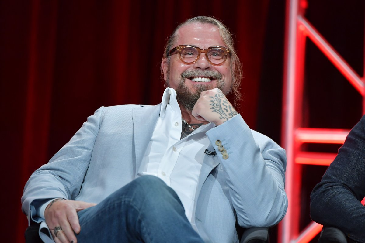 Kurt Sutter of Mayan M.C speaks during the FX segment of the 2019 Summer TCA Press Tour at The Beverly Hilton Hotel on August 6, 2019 in Beverly Hills, California.