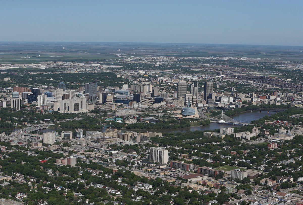 An aerial view of the Winnipeg skyline by the Red River on June 15, 2013 in Winnipeg, Manitoba.