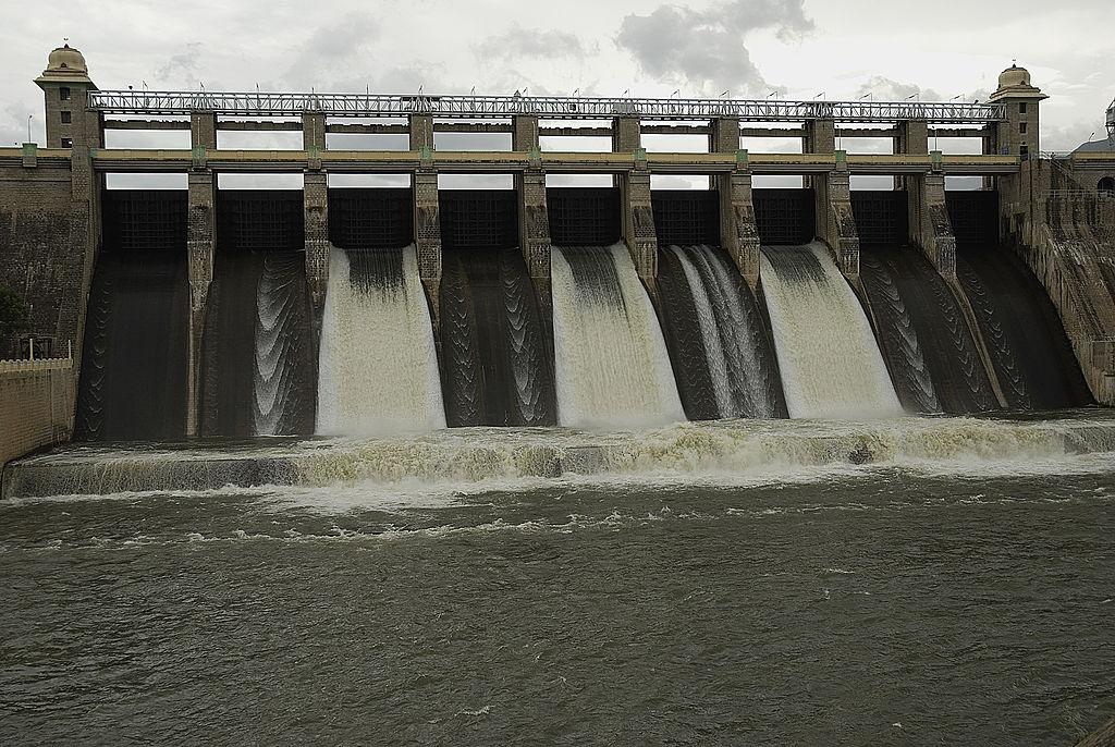 The Amaravathi Dam in located in Tamil Nadu, India.