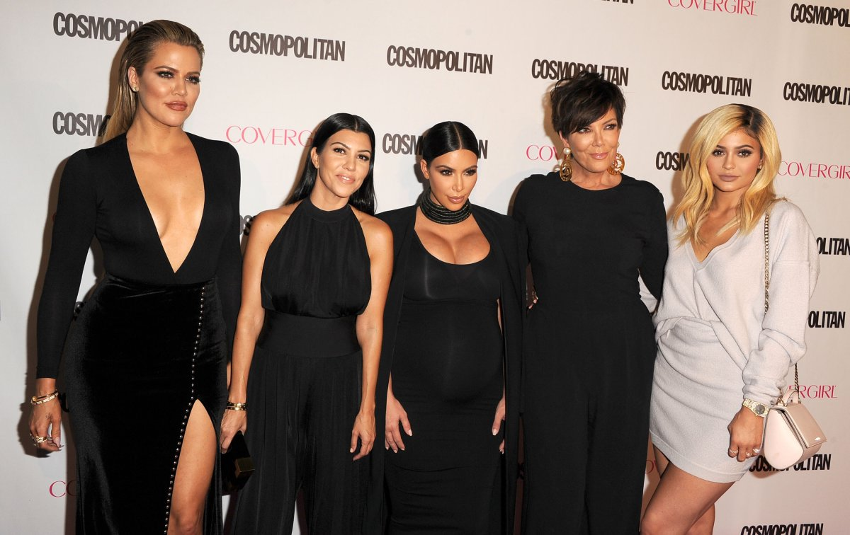 Khloe, Kourtney and Kim Kardashian pose with Kris and Kylie Jenner as they arrive at the Cosmopolitan Magazine's 50th Birthday Celebration at Ysabel on Oct. 12, 2015 in West Hollywood, Calif.
