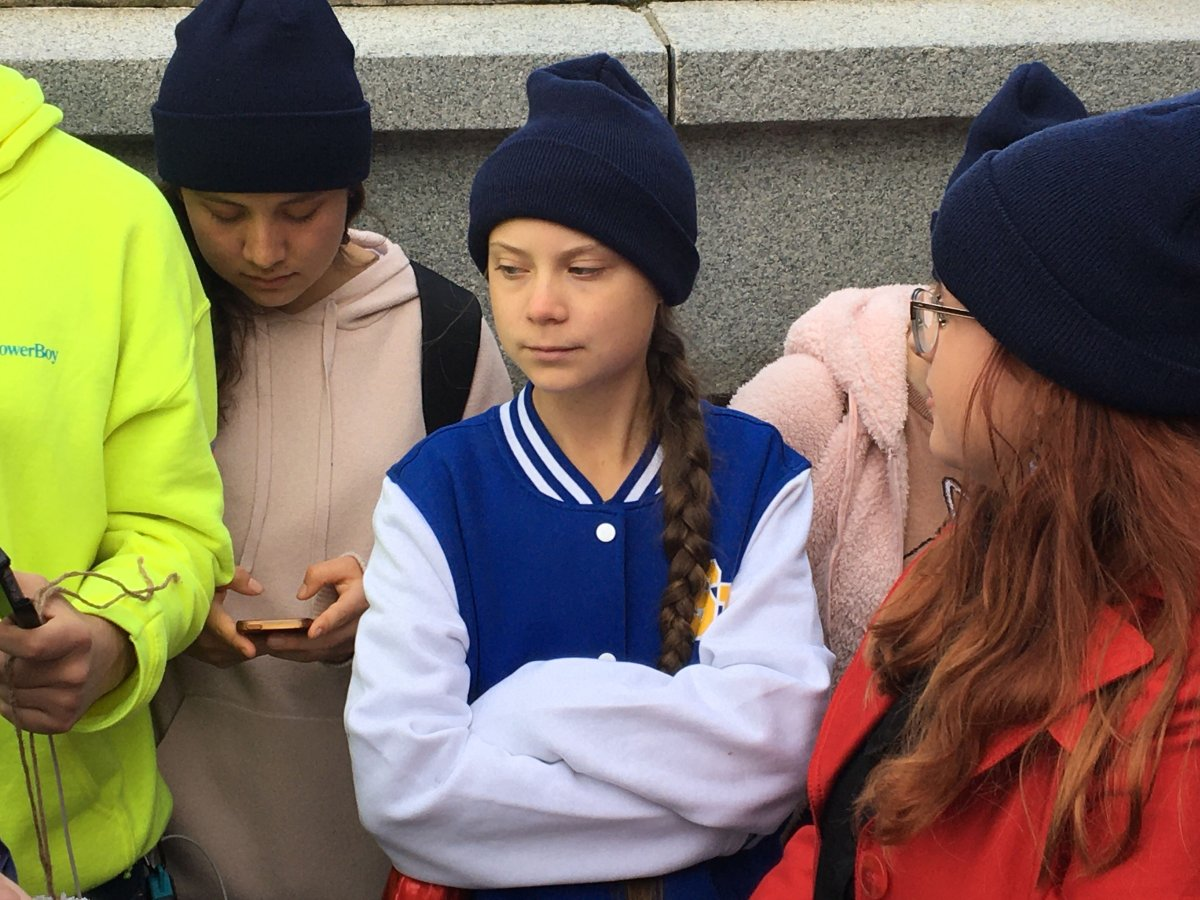 Swedish climate activist Greta Thunberg spoke at a climate rally at the Alberta legislature in Edmonton on Friday, Oct. 18, 2019.