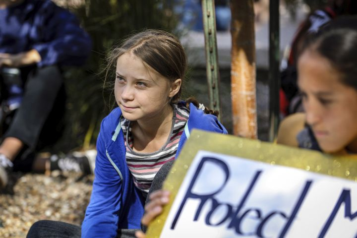 Greta Thunberg looks on during the Climate Change Rally and March Monday, Oct. 7, 2019 in Rapid City, S.D.