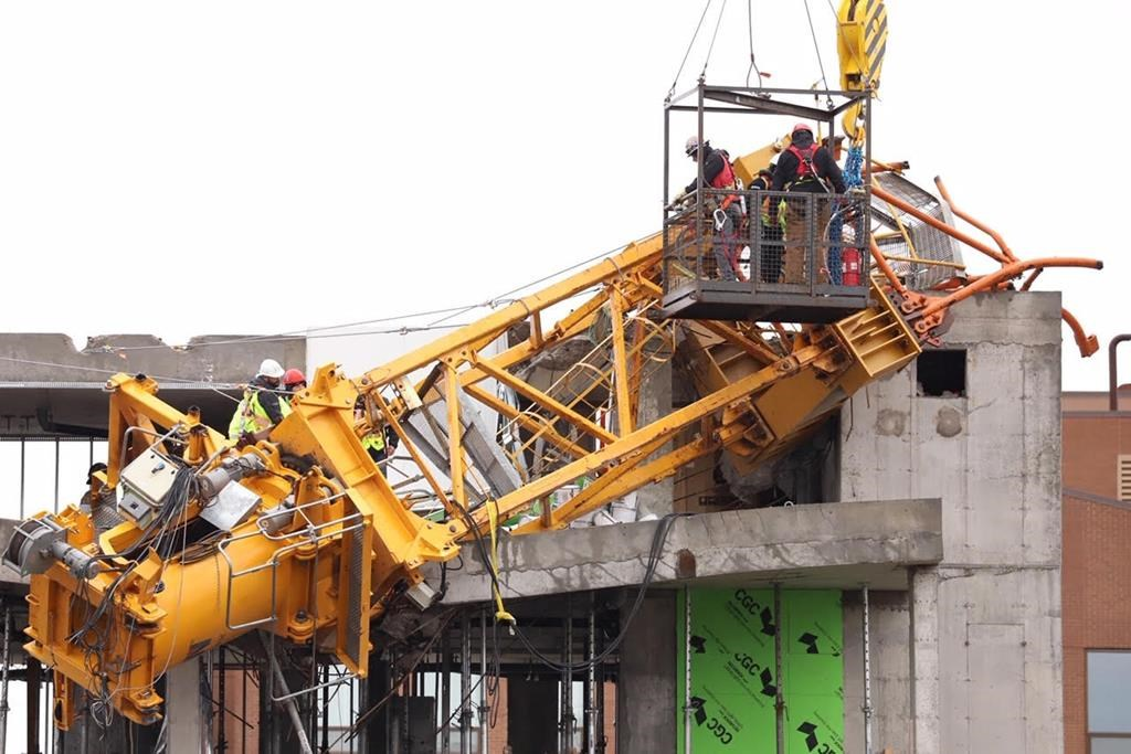 The final pieces of a crane, shown in a handout photo, that collapsed onto a building in Halifax last month, during post-tropical storm Dorian, have been removed.