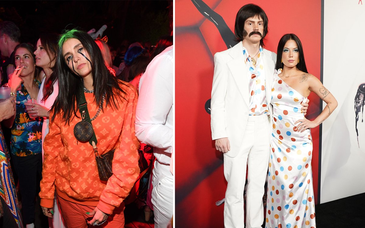 (L-R) Nina Dobrev as Billie Eilish and Evan Peters and Halsey as Sonny and Cher.
