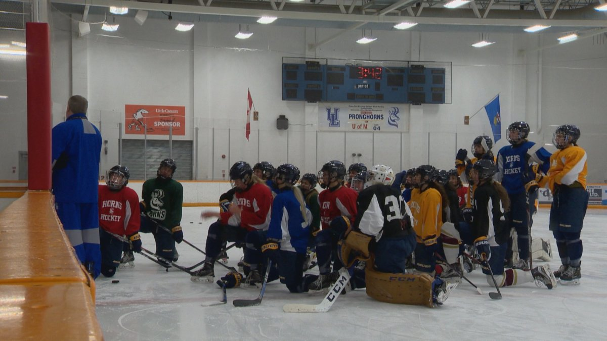 File photo (Oct. 1, 2019): The Pronghorns women's hockey team at a practice.