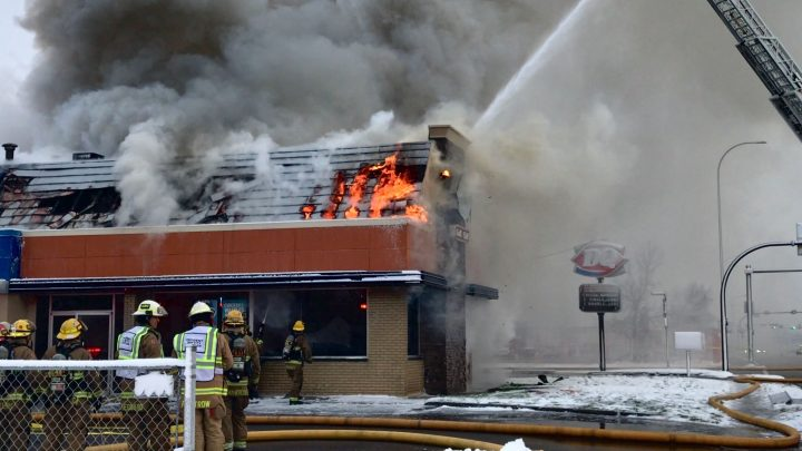 A fire broke out at a Dairy Queen in northeast Calgary on Tuesday, Oct. 8, 2019.