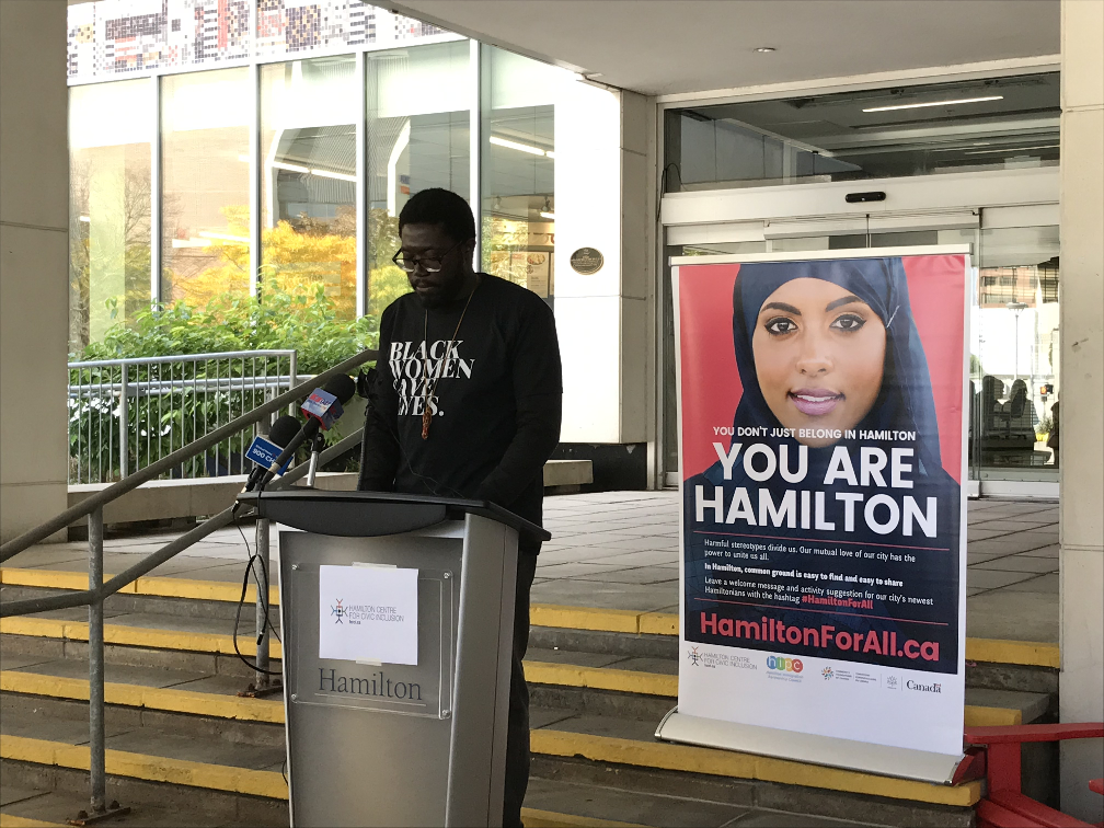 Kojo Damptey of the Hamilton Centre for Civic Inclusion announced a multi-city anti-racism conference that will be hosted in Hamilton in February 2020.