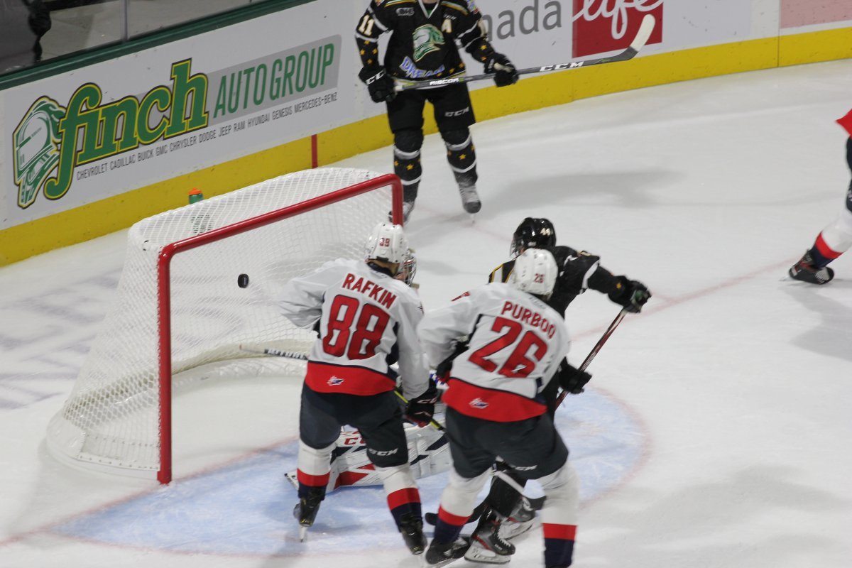 Jonathan Gruden of the London Knights scores a second period goal against the Windsor Spitfires on Oct. 18, 2019, at Budweiser Gardens.