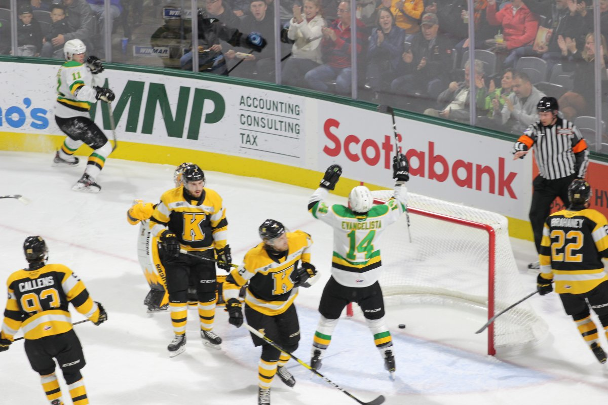 London, Ont. - London Knights forward Luke Evangelista celebrates his first career OHL goal in a game against the Kingston Frontenacs at Budweiser Gardens on October 19, 2019.